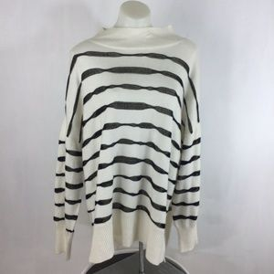 Two By Vince Camuto Sheer Stripe Mock Neck Sweater